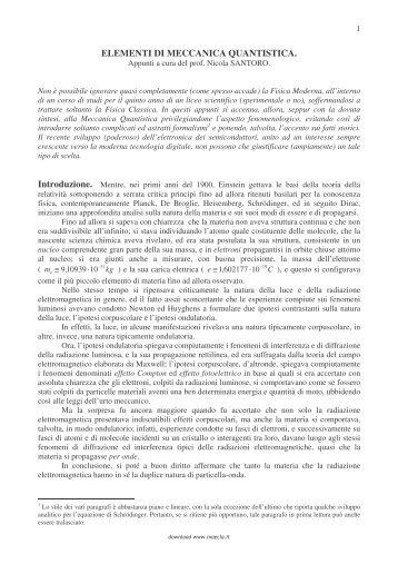 ELEMENTI DI MECCANICA QUANTISTICA. - Maecla