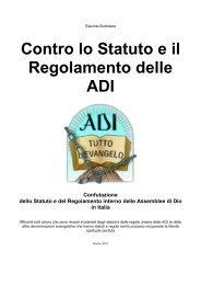 Statuto e Regolamento Interno delle ADI - I miei scritti - La nuova Via