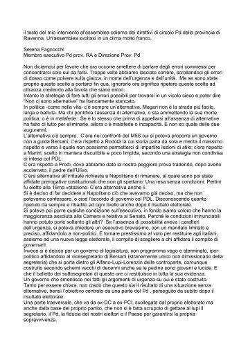 Intervento Serena Fagnocchi - Ravenna & Dintorni