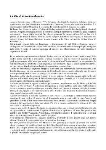 La Vita di Antonio Rosmini - Rosminiane.org