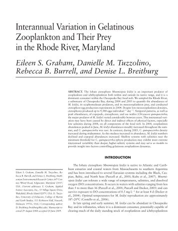 Interannual Variation in Gelatinous Zooplankton and Their Prey in ...