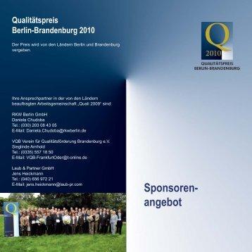 Sponsorenangebot - Verein für Qualitätsförderung Brandenburg eV