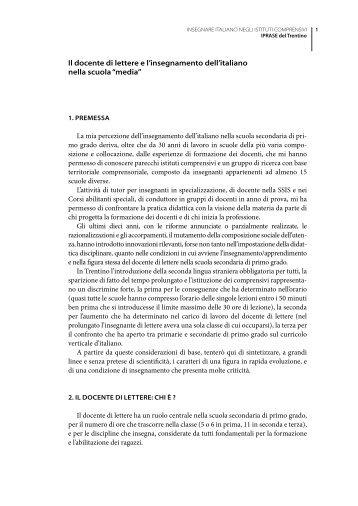 Il docente di lettere e l'insegnamento dell'italiano ... - IPRASE Trentino