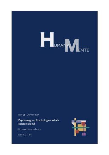 Psychology and Psychologies: wich Epistemology? - Humana.Mente