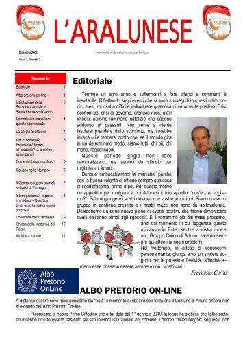 L'ARALUNESE N.2 Dicembre 2010 - Gruppo Civico Ara-Lunae