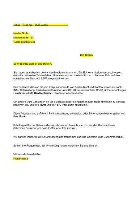 Musterbrief Anforderung Iban Bic Vr Bank Bayreuth