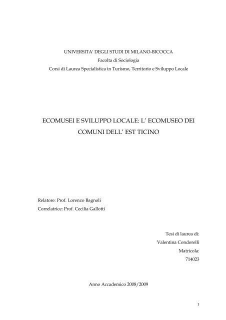 ecomusei e sviluppo locale - Agenda 21 Est Ticino