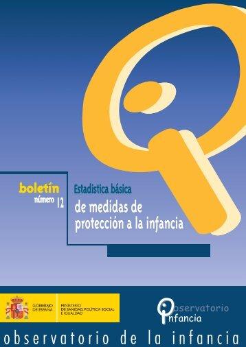 Estadística Básica de medidas de Protección a la Infancia. Boletín 12