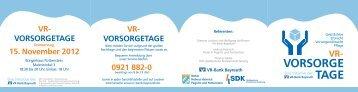 TAGE VORSORGE TAGE - VR-Bank Bayreuth