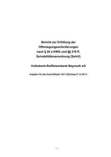 Offenlegungsbericht 2011 - VR-Bank Bayreuth