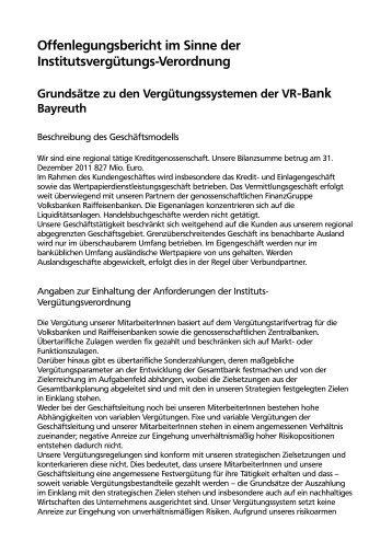 Offenlegungsbericht im Sinne der Institutsvergütungs-Verordnung