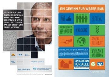 EIN GEWINN FÜR ALLE Die Genossenschaften in Weser-Ems