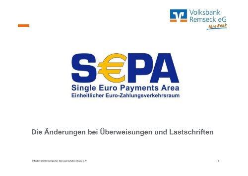 Vortrag SEPA für Vereine - Volksbank Remseck eG