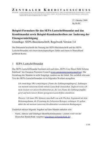 Muster SEPA-Lastschriftmandat - VR Bank Kitzingen eG