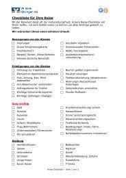 Checkliste für Ihre Reise - VR Bank Kitzingen eG