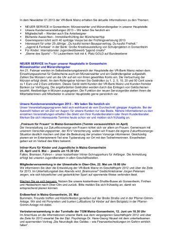 Newsletter 01.2013 Februar - VR-Bank Mainz