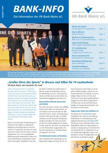 Kundenzeitschrift 1.2013 - VR-Bank Mainz