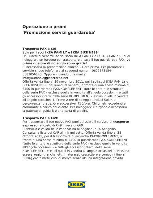 Operazione A Premi Promozione Servizi Guardaroba Ikea
