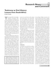 Testimony as Oral History: Lessons From South Africa