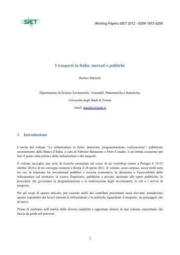 I trasporti in Italia: mercati e politiche 1 Introduzione - SIET - Società ...