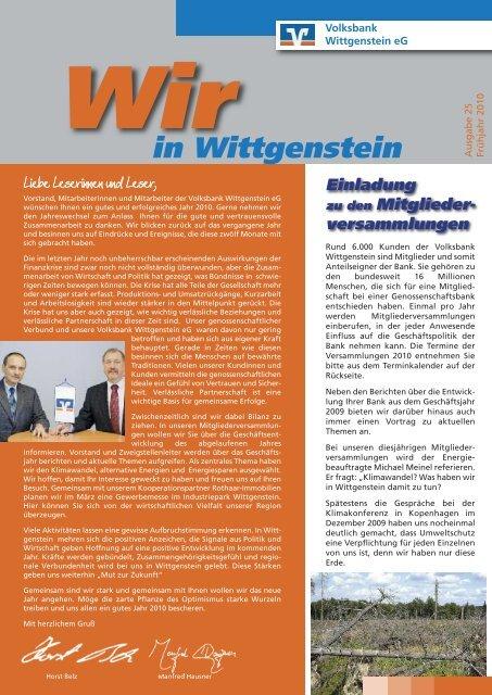 Wir in Wittgenstein - Volksbank Wittgenstein eG