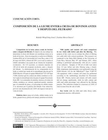 COMPOSICIÓN DE LA LECHE ENTERA CRUDA DE BOVINOS ANTES Y DESPUÉS DEL FILTRADO