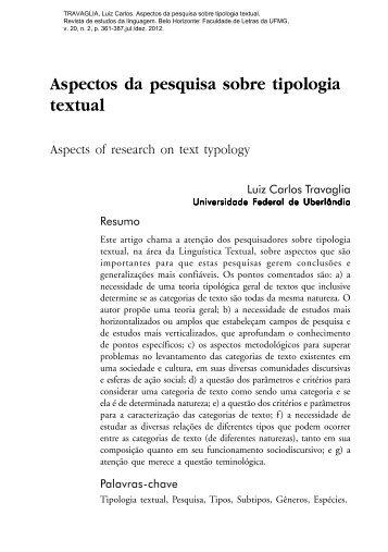 Aspectos da pesquisa sobre tipologia textual - Instituto de Letras e ...