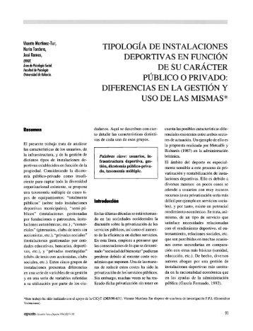 TIPOLOGIA DE INSTALACIONES DEPORTIV AS EN ... - apunts