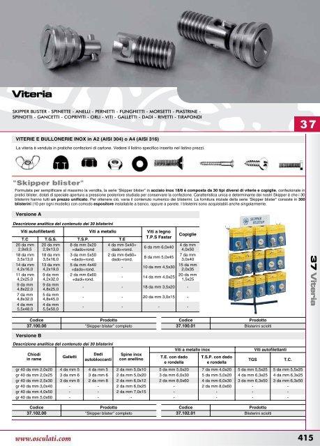 BLISTER 20 VITI AUTOFILETTANTI INOX AISI 304 TESTA SVASATA 3,9 X 25 DIN 7982