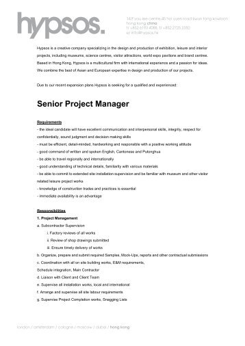 Senior Project Manager - Hypsos