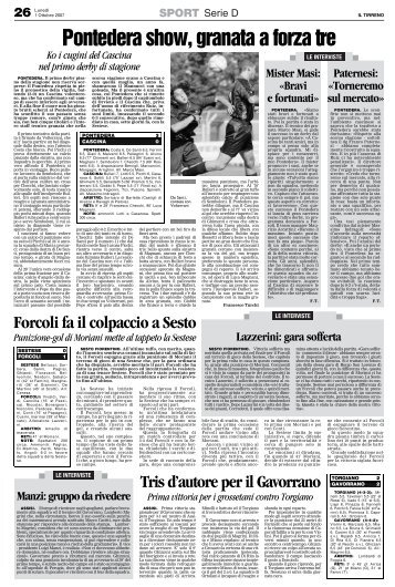 01/10/2007 Campionato 5a Giornata: Girone E - serie d news