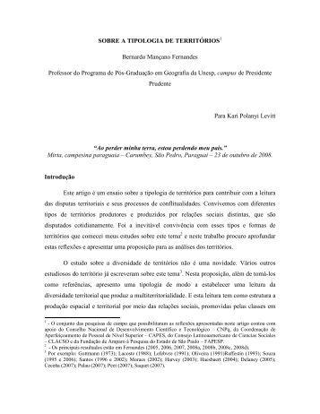 SOBRE A TIPOLOGIA DE TERRITÓRIOS Bernardo Mançano ...