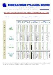 Disposizione Campi e Posizione Tappeti Campionati di Serie 2012