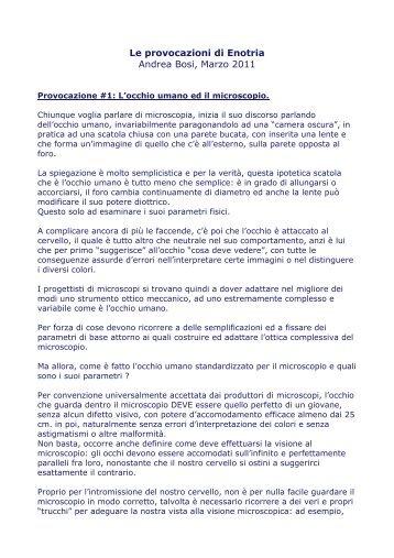 Le provocazioni di Enotria Andrea Bosi, Marzo 2011
