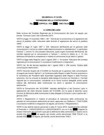 DELIBERA N. 37/10/CRL DEFINIZIONE DELLA ... - Corecom Lazio