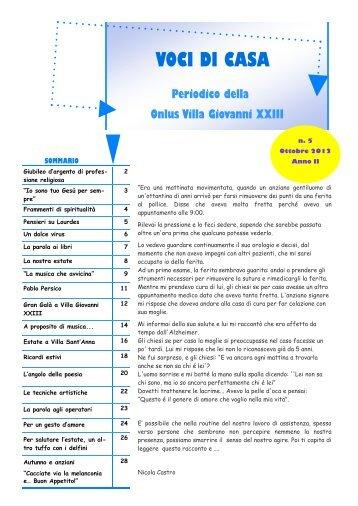 Voci di Casa Otrtobre 2012 - ONLUS Villa Giovanni XXXIII