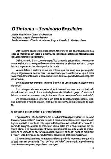 O Sintoma—Seminário Brasileiro - Escola Letra Freudiana