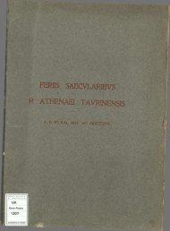 feriissaecularibusr.athenaeitaurinensisadvikalnovanmdccccvi