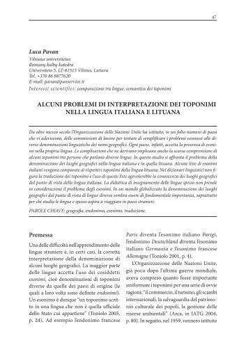 alcuni problemi di interpretazione dei toponimi nella lingua italiana ...