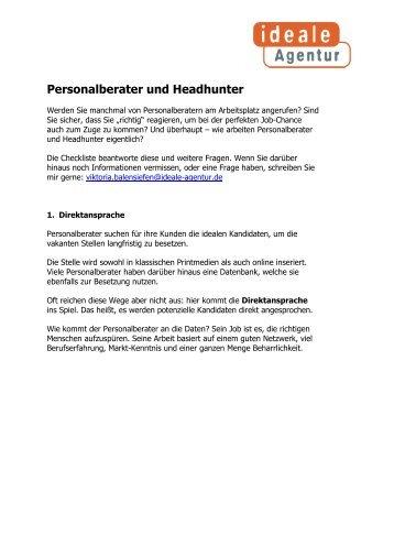 Personalberater und Headhunter - ideale Agentur