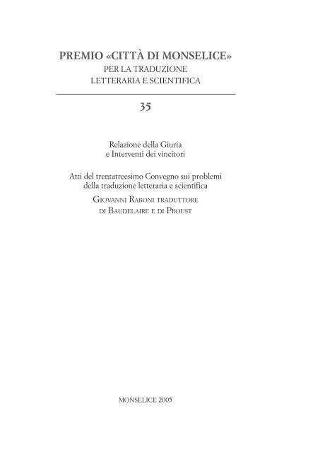Relazione della Giuria 35^ edizione 2005 - Provincia di Padova