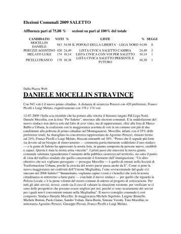 DANIELE MOCELLIN STRAVINCE - Comune di Saletto