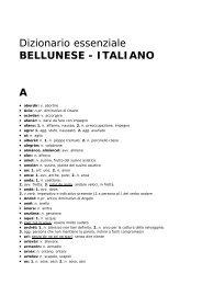 Dizionario essenziale BELLUNESE - ITALIANO A - Lingua Veneta