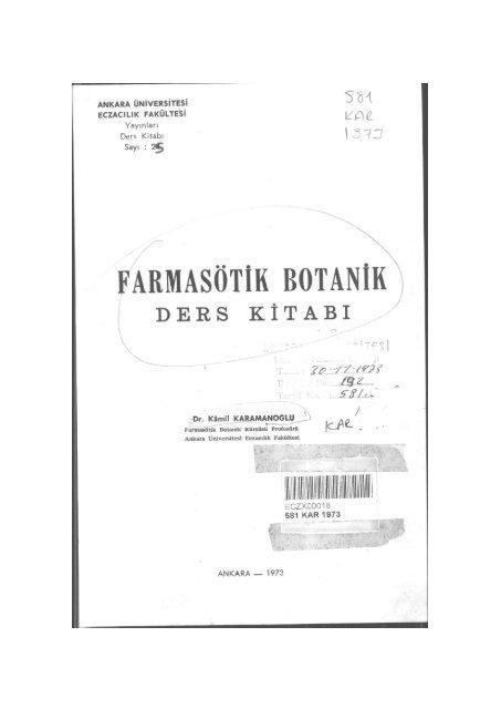 Farmasotik Botanik Ders Kitabi Ankara Universitesi Kitaplar