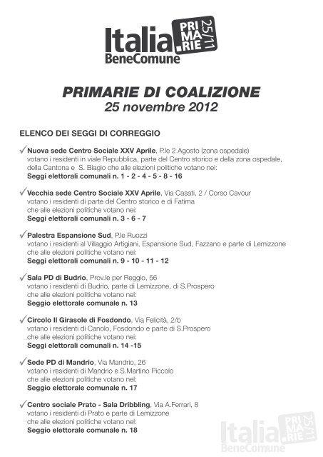 PRIMARIE DI COALIZIONE 25 novembre 2012