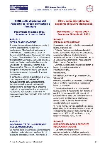 CCNL sulla disciplina del rapporto di lavoro domestico - Patronato Acli