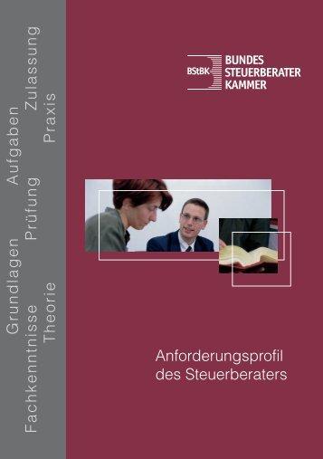 """Broschüre """"Anforderungsprofil für Steuerberater"""""""