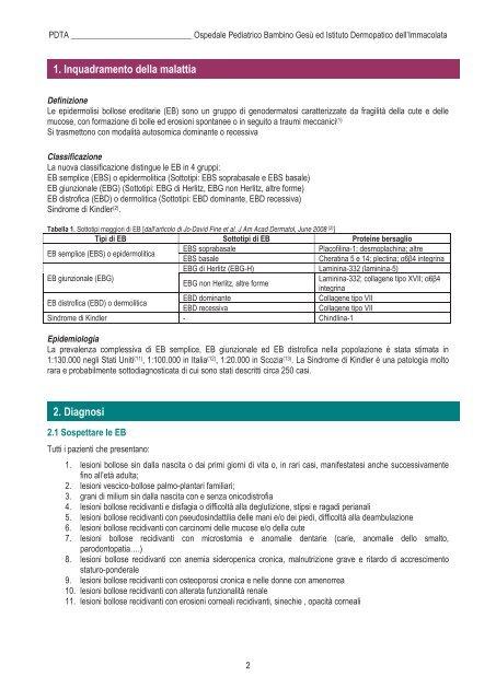 PDTA Epidermolisi Bollosa - Malattie Rare Lazio