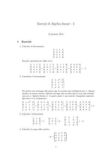 100 esercizi di algebra lineare pdf