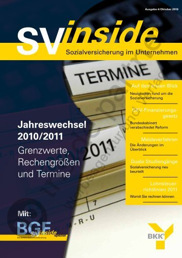 Jahreswechsel 2010/2011 Grenzwerte ... - ip inside partner